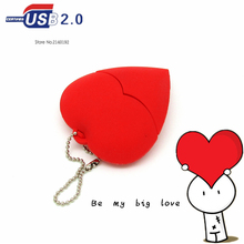 Cute USB Flash Drive Red heart 4GB/8GB/16GB/32GB Pen Drive Flash Cards PenDrive U disk Gift of love Valentine Gift