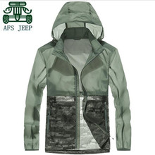 AFS JEEP Wholesale Brand Mans Summer new style skin style sun screen jacket,hooded military style camouflage portable outwear(China)