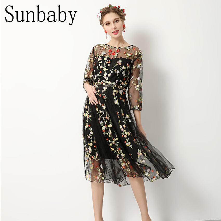 2017 Summer Fashion elegant vestidos floral embroidery lace yarn pregnancy dress photography clothes for pregnant women <br>