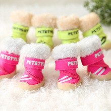 Fluorescent Winter warm fleece small Dog snow Shoes indoor chihuahua Pet Dog cat sport rain Shoes nonslip dog boot booties(China)