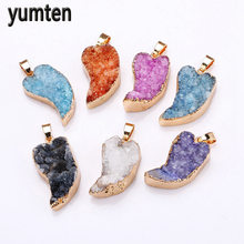 Yumten Natural Crystal Pendant Leaves Charms The Geode Clusters Buds Ribbon Necklace Jewelry Religioso Collares Mujer Cofre Gift