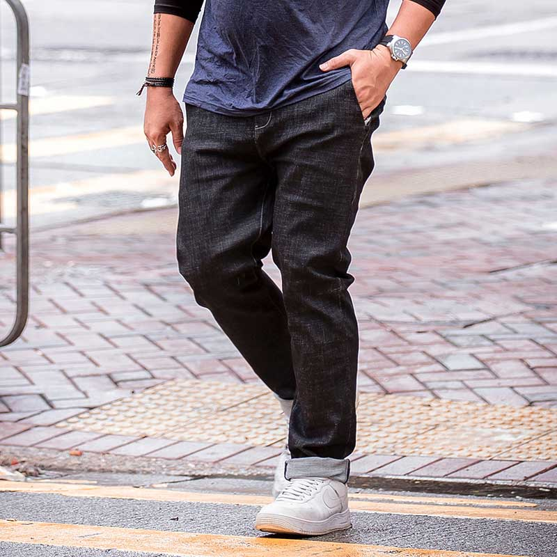 Plus Size Mens Solid Black Denim Jeans Trousers Fashion Stright Pants Oversize Men Clothing Big and TallÎäåæäà è àêñåññóàðû<br><br>