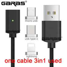 GARAS Magnetic Cable Lightning Micro USB Type C 3in1 Mobile Phone Magnet Cable Fast Charging Magnetic Micro USB Cable Adapter(China)
