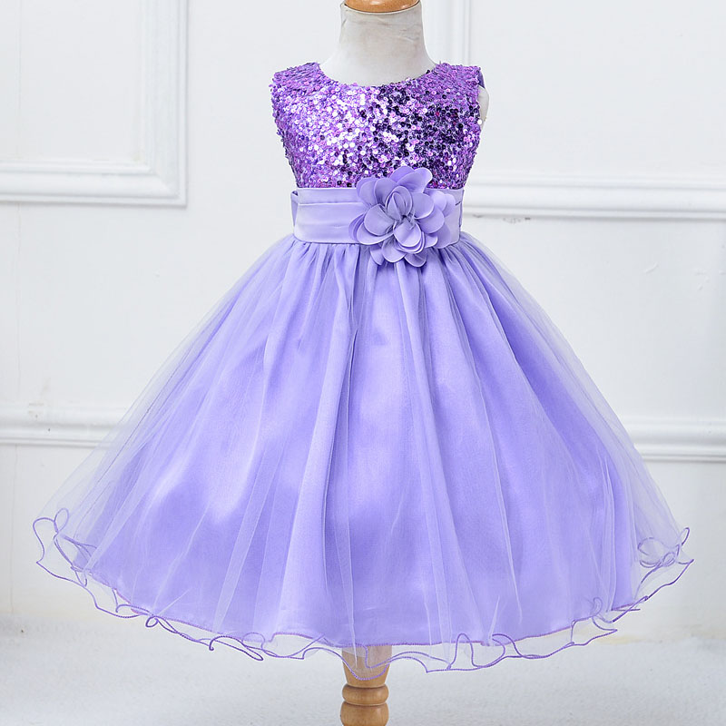 Girls Dresses Sequined 2016 High Quality Champagne Flower Girl Dresses For Party And Wedding Princess Dress Age 3 5 6 8 10Years<br>