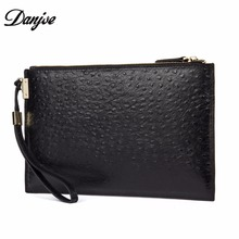 DANJUE Luxury Design Male Leather Purse Men's Clutch Genuine Leather Ostrich Pattern Casual Business Bag Handbag Men D8086