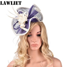 Purple Womens Sinamay Hats  female Fascinator  HatsFloral Feather Clip Fascinator Party HatA346