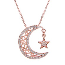 BELLA Fashion 925 Sterling Silver Moon Star Bridal Necklace Rose Gold Tone Cubic Zircon Necklace For Women Wedding Jewelry Party(China)