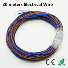20 meters Electrical Wire Tinned Copper 2 Pin 20 AWG insulated PVC Extension LED Strip Cable Red Blue Wire Electric Extend Cord