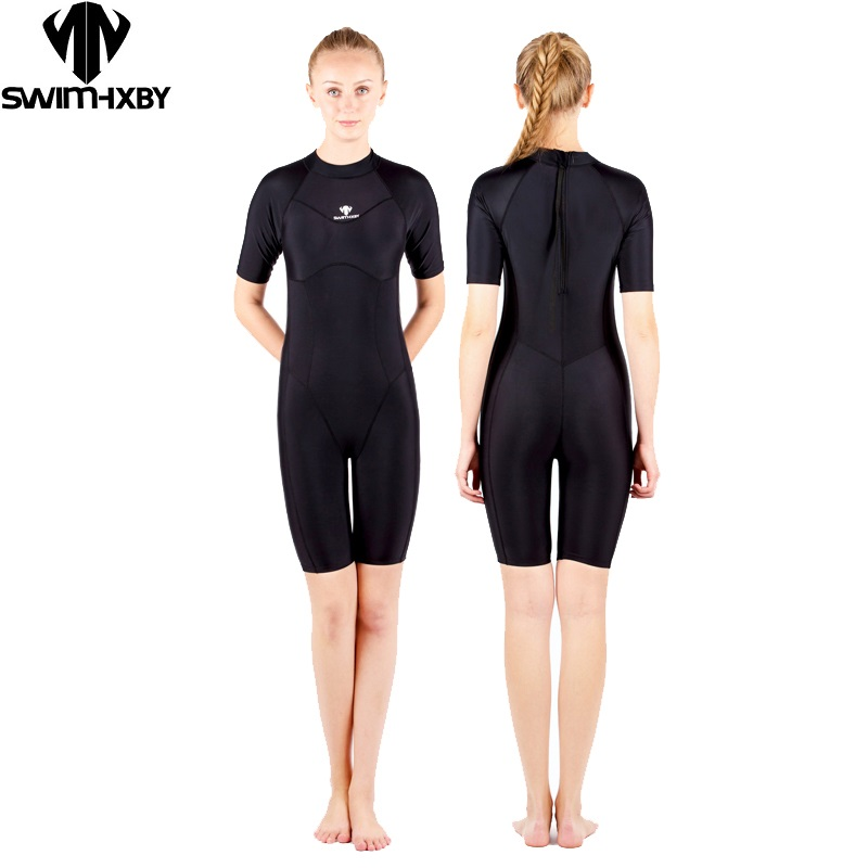 HXBY Womens Plus Size One Piece Swimsuit  Solid Swimwear Competitive Swimming Suit for  women Bathing Suits kneeskin Swimsuits<br>