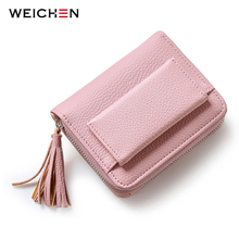 WEICHEN Pink Short Tassel Women's Wallets, Multifunction Lady Mini Purse Card Coin Purse Brand Hasp & Zipper 3 Fold Wallet(China)