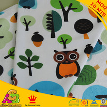 Free shipping owl design digital print minky used for baby boy blanket baby clothing fabric size 150cm*100cm