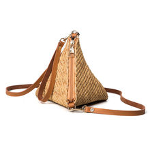 Woven Straw Bags For Women 2017 New Casual Pyramid Crossbody Shoulder Bag Vintage Summer Straw Handbag Bolso De Paja Bandolera
