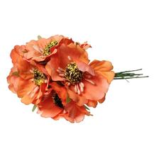 "Terylene Artificial Chrysanthemum Flower Decoration Millinery Orange 11.0cm(4 3/8""),2 Bundles 2015 new"