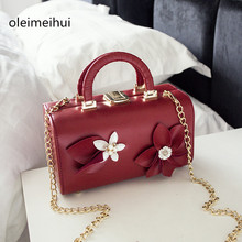 New Leather Box Evening Bag Dimensional Flower Printing Totes Women Dot Designer Handbag Crossbody Messenger ladies evening Bag(China)