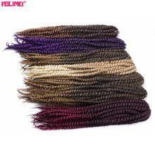 Feilimei Mambo Twist Braids Hair Extensions 22Inch 120g Synthetic Ombre Black Blonde Brown Purple Red Crochet Braiding Hair