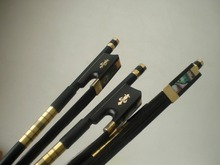 3 PCs Quality Black Carbon Cello bow 4/4 black horse hair Ebony Frog