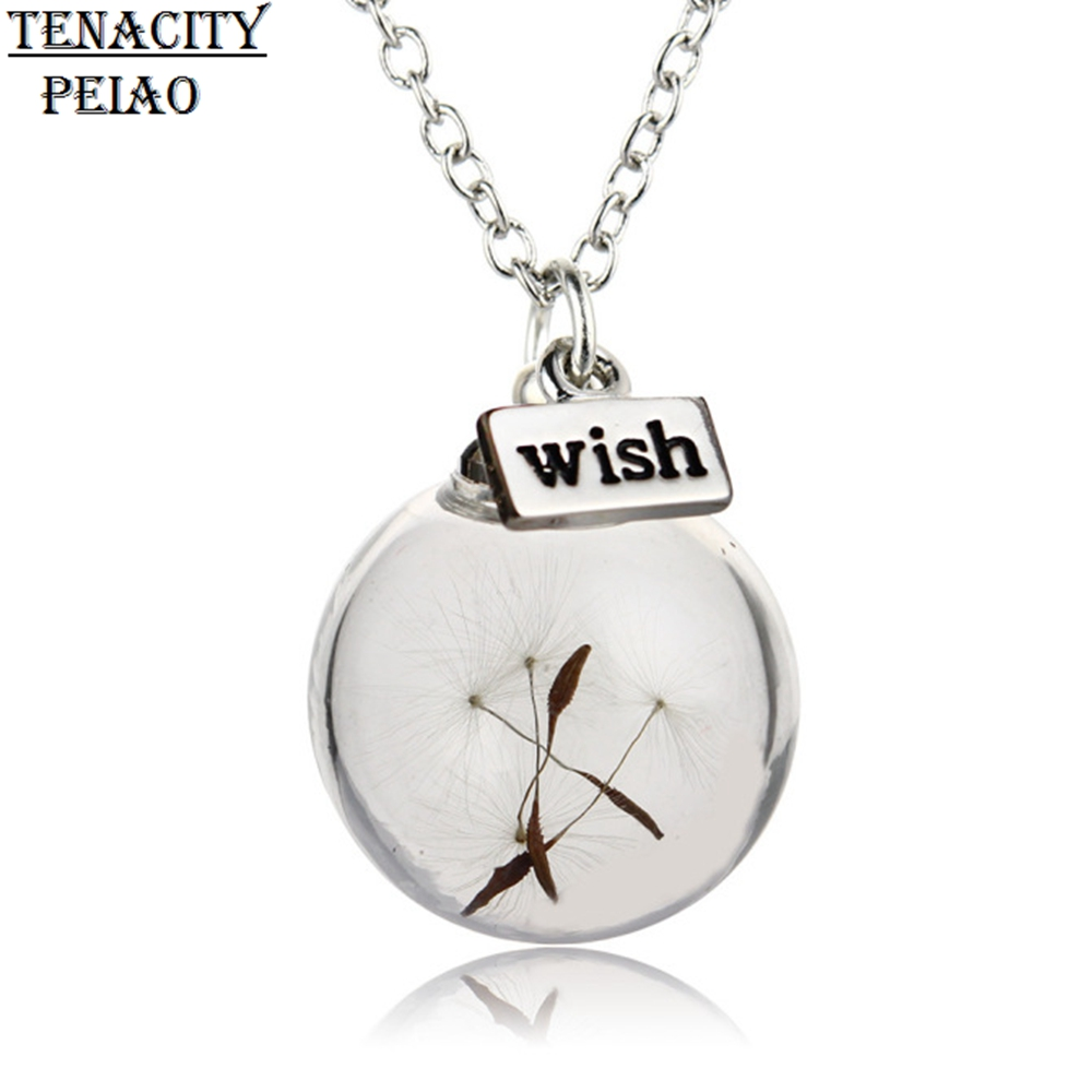 Tenacity Peiao Glass Bottle wish Pendant Necklace Natural Dandelion Seeds Necklace Botanical Pendant long Chain Necklace Jewelry(China)