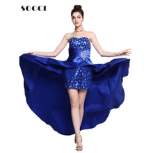 SOCCI Royal Blue Evening Dress  Short Front Long Back Elegant Sequined Formal Party Gowns Plus Size Custom Made robe de soiree