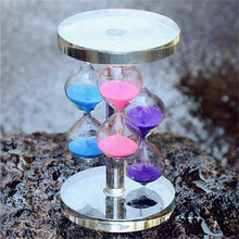 3 Color Crystal Glass Sand Countdown Clock Timing Glass Hourglass Ampulheta Timer Home Office School and Art Decorative Use Gift