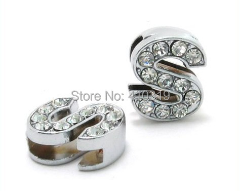 "Wholesale 50PCS 8mm "" S "" full rhinestones alloy slide letter, diy pet dog charm"