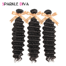 Sparkle Diva Hair Deep Wave Brazilian Hair Weave Bundles 100% Human Hair Bundles 8-28inch Natural Color Non Remy Hair Extensions(China)