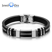 Silicone Bracelet Stainless Steel Bracelets & Bangles Casual & Sporty Fashion Men's Jewelry Best Man Gift (JewelOra BA101395)(China)