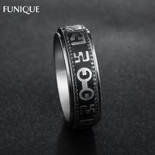 FUNIQUE Men's Rings Fashion Letter Carved Stainless Steel Rings Dragon Pattern Rotatable Rings For Women Men Rings Jewelry Gifts