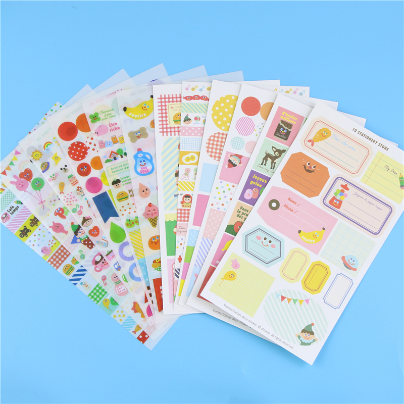 12 PCS / Pack Korean Kawaii Stickers Yummy Friends Planner Sticker Pvc Scrapbooking Sticker Sticky Notes Papelaria<br><br>Aliexpress