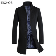 EICHOS Autumn Men's Wool Coat Slim Men Middle Long Coats And Jackets Solid Male Manteau Homme Overcoat Wool Blend Coat Men(China)