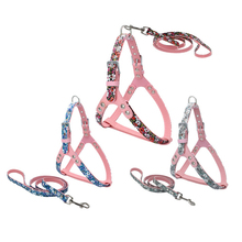 PU Small flower PU Dog Harness and leash Set Chihuahua PU Leather for Dog Small Pet Accessories Blue Red Green(China)