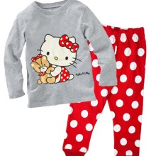 Hello Kitty Kids Pajamas Christmas Girls Pajamas Set Autumn Winter Cotton Long Sleeve Pyjamas Set pijama infantil pyjama fille