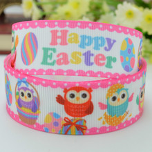 7/8 inch Happy Easter Owls Eggs Printed Grosgrain Ribbon 4 Hairbows 50yards/lot