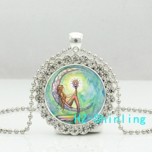 New Romantic Mermaid Moon Crystal Necklace Fantasy Art Pendant Glass Photo Jewelry Ball Chain Necklaces Gifts Female(China)