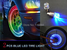 2pcs Blue Red 7 Color LED Tyre Tire Valve Caps Neon Light Bike Car motorcycle  Free Shipping