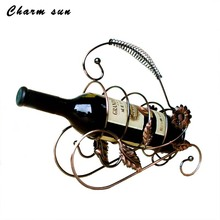 European Red Wine Shelf Fashionable Iron Art Creative Sunflower Wine Rack Table Fairy Garden Decorations(China)