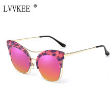 New Fashion Luxury Cat Eye Sunglasses Women Brand Designer Coating Sun Glasses Mirror Female Oculos De Sol Feminino Twin-Beams