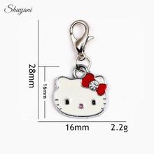 28*16mm Alloy 4Colors Metal Enamel Charms Pendant Lovely Crystal Cat Hello Kitty Charm for Bracelet Jewelry Findings Accessories