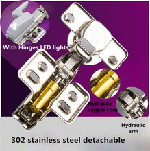 Hydraulic buffer kitchen cabinet hinges 302 Stainless steel detachable furniture hinge with LED light(China)