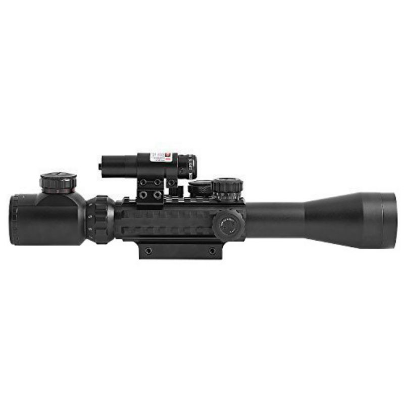 Outdoor Tactical 3-9x40mm Illuminated Hunting Rifle Scope with Red Laser and Red Dot Sight of Red / Green Reticle Mount<br><br>Aliexpress