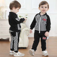 [LOONGBOB]2014 New baby boy 2 pcs set autumn UK flag striped casual suits jacket+pants suit full sleeve children clothing set