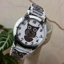 Owl Printing elastic band Steel Unisex Personality Wrist Watches Metal Case Quartz Watch Women zegarki damskie