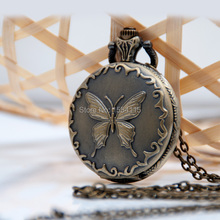 New Arrival  Middle Size Butterfly Pocket Watch Necklace Korean Sweater Chain Student Gift  Watch 100pcs/lot DHL Free shipping