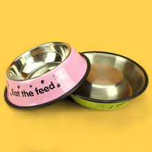 Hot Sale Dog Bowl Colorful Painting Cartoon Printing English Stainless Steel Single Pet Bowl dog cat feeder