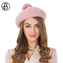 FS 100% Australia Wool Felt Berets Pink Caps For Women French Boina Gorras Planas Flat Cap Winter Female Pompom Stewardess Hats(China)
