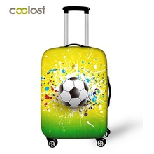 Foot Ball Print Travel Suitcase Protective Covers Luggage Protector For Man Boys Suitcase Accessories Elastic Bagage Cover(China)