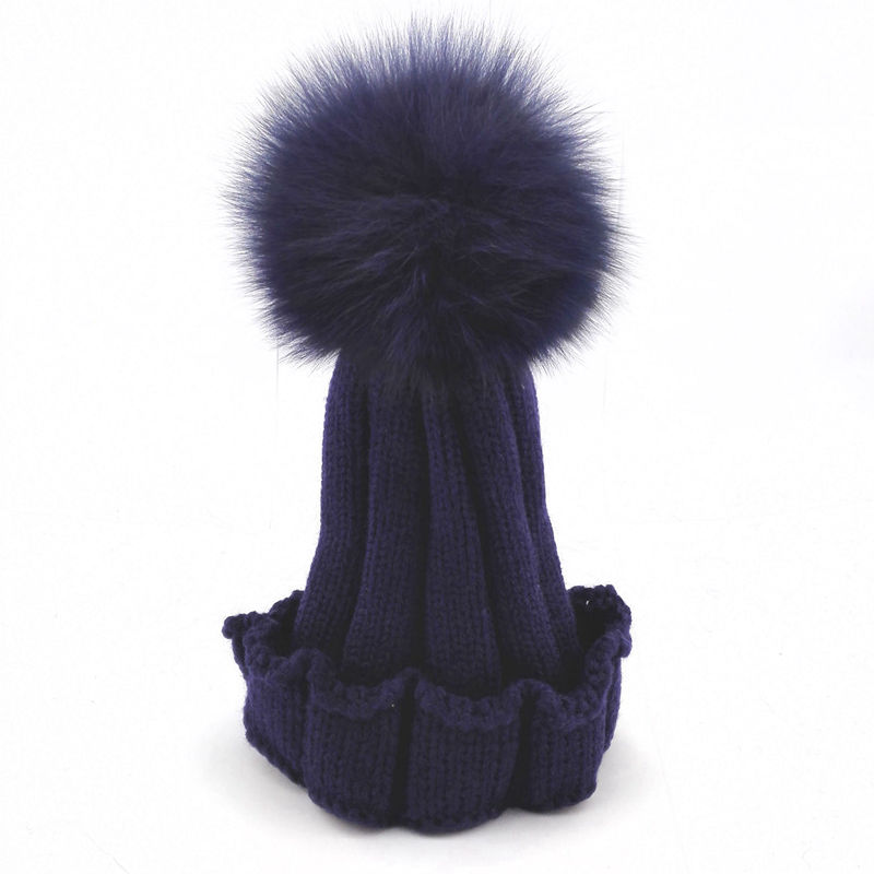 Kids Genuine Real Fox FUR Pom Pom Hat Child Winter Crochet Beanies Knit Warm Hat Large fox fur pompom Genuine Fur Knit Cap H046Îäåæäà è àêñåññóàðû<br><br><br>Aliexpress