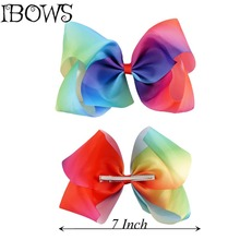 1PC Girl Hair Accessories Fashion Handmade Rainbow Hair Bow With Big Alligator Clips Hairgrips For Kids Boutique Barrettes