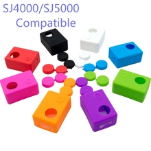 Soft Silicone Gel Full Protective Case for SJCAM SJ4000 / SJ5000 SJ7000 EKEN H9 Action Camera Accessories with Lens Cover