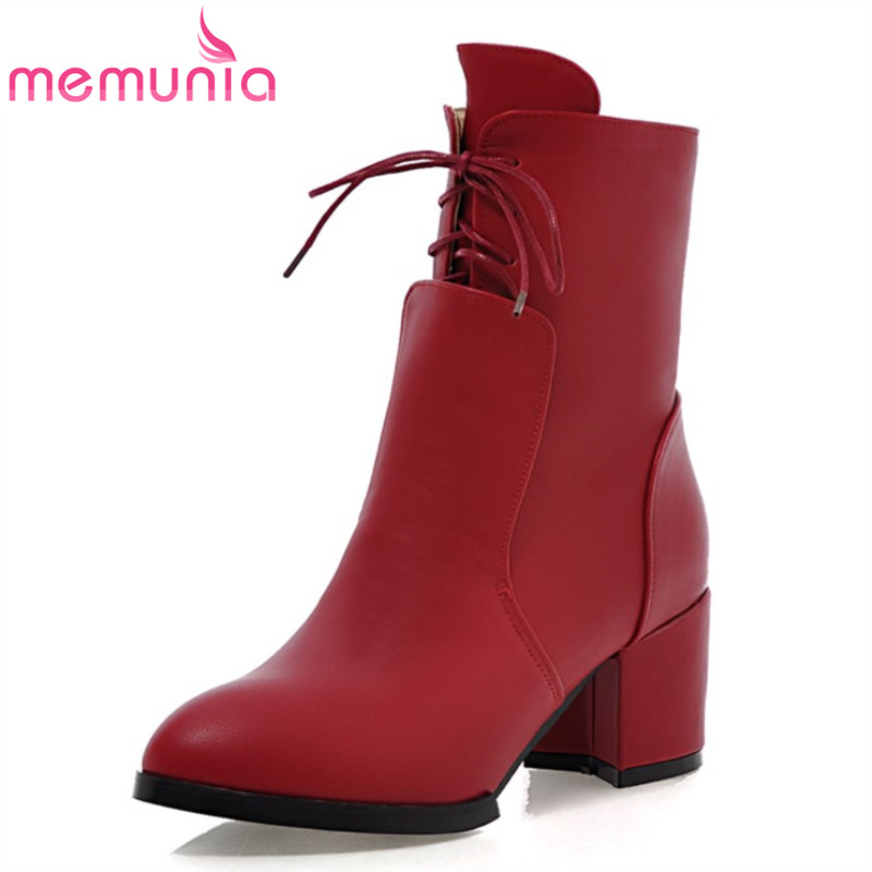 MEMUNIA 2017 lace up thick heels high quality autumn winter women mid calf boots classic black and red simple women shoes <br><br>Aliexpress