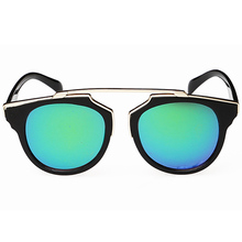 New Fashion Plastic Wrap Metal Cat Eye Glasses Vintage Sunglasses Women Men Brand Designer Coating Sunglass gafas lentes de sol